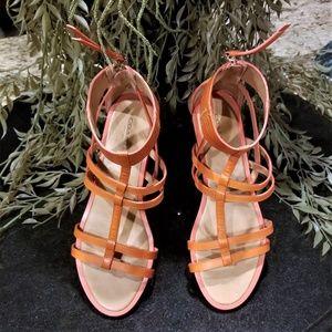 COACH Nillie Burnished Orange Gladiator Sandals